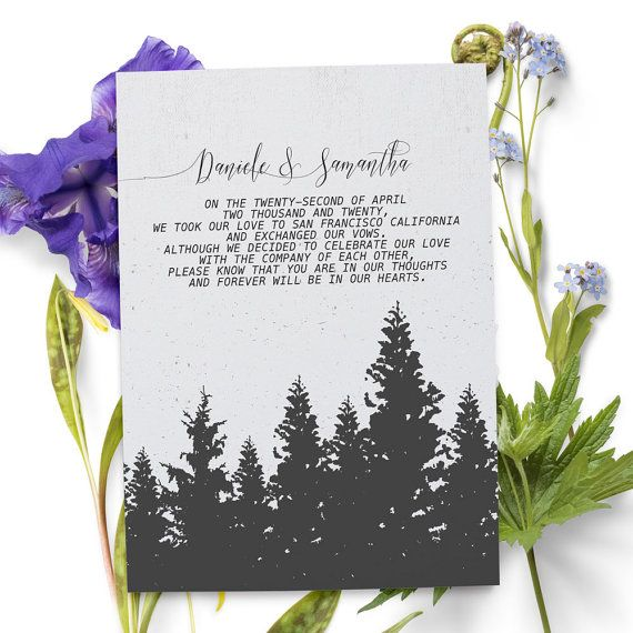 Wedding Elopement Ideas: Holiday Inspired Elopement Announcement Card That You Can