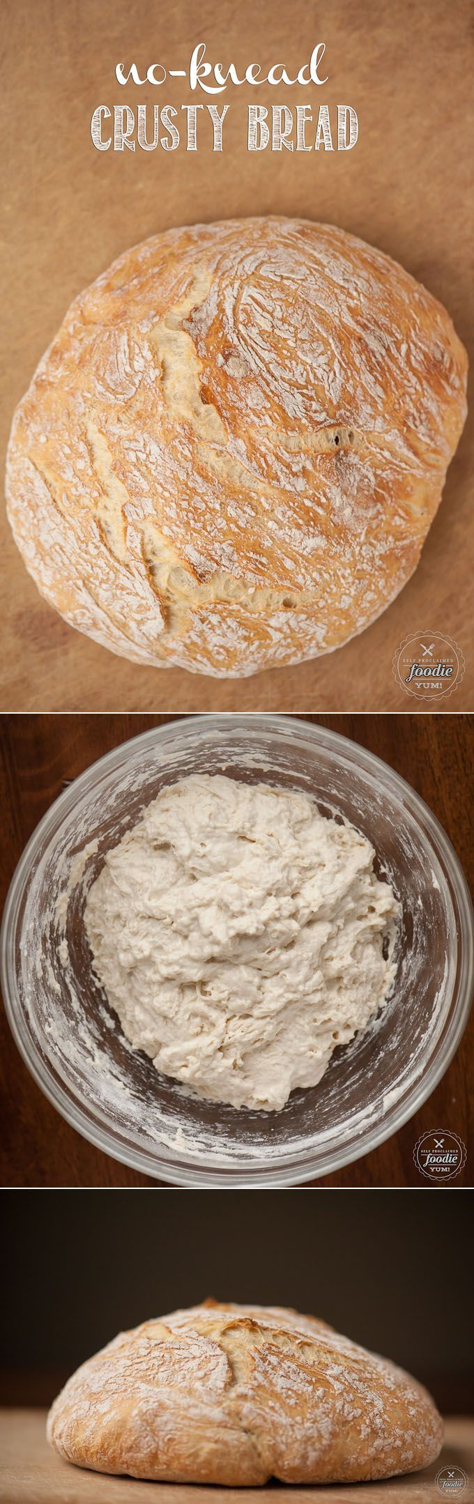No bread machine or stand mixer needed for this chewy No-Knead Crusty Bread. All you need to make this easy recipe is time and a cast iron dutch oven. #bread #homemadebread #dutchoven