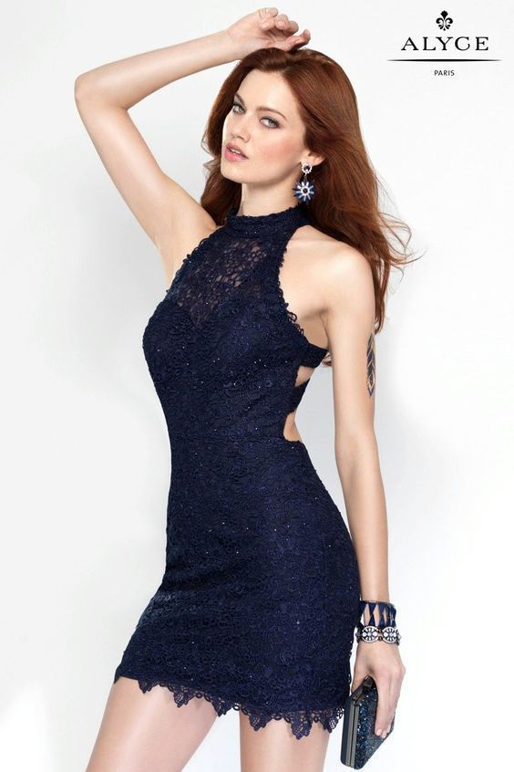 bf920f364b3 bodycon dress with sweetheart neckline and sheer halter top with strappy  back Prom Party Dresses,