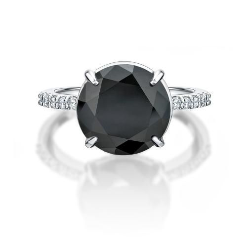 Secrets Round Brilliant Cocktail Ring - Black