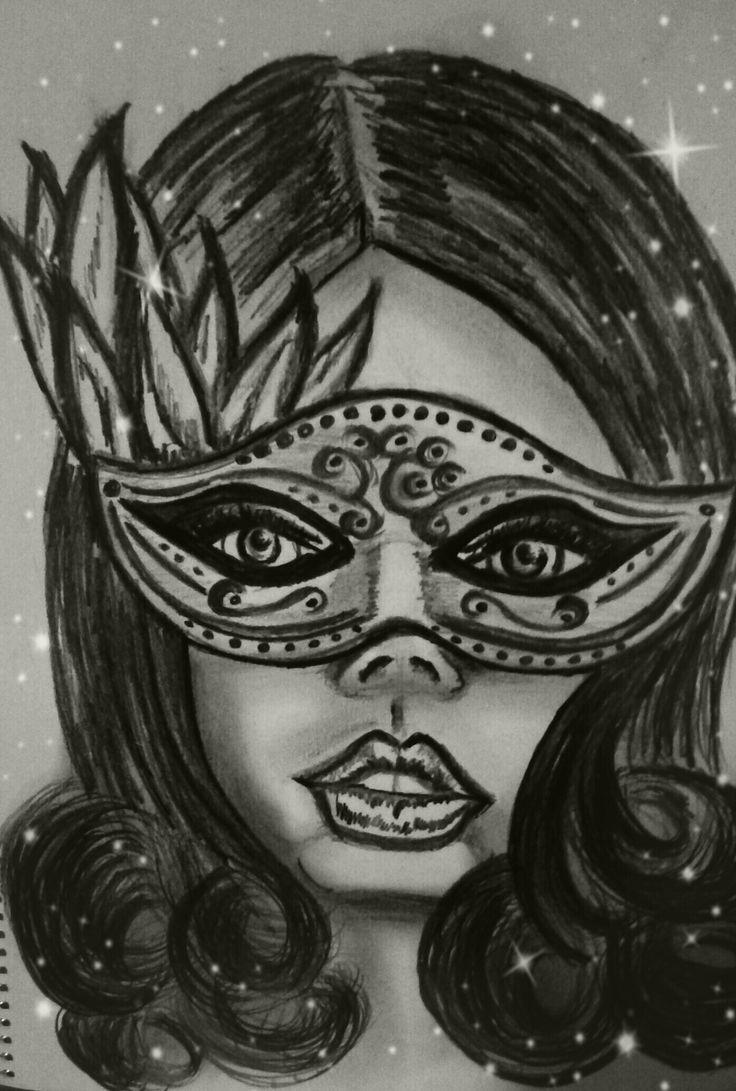 The mask!  Personal drawing, Barbara Scott