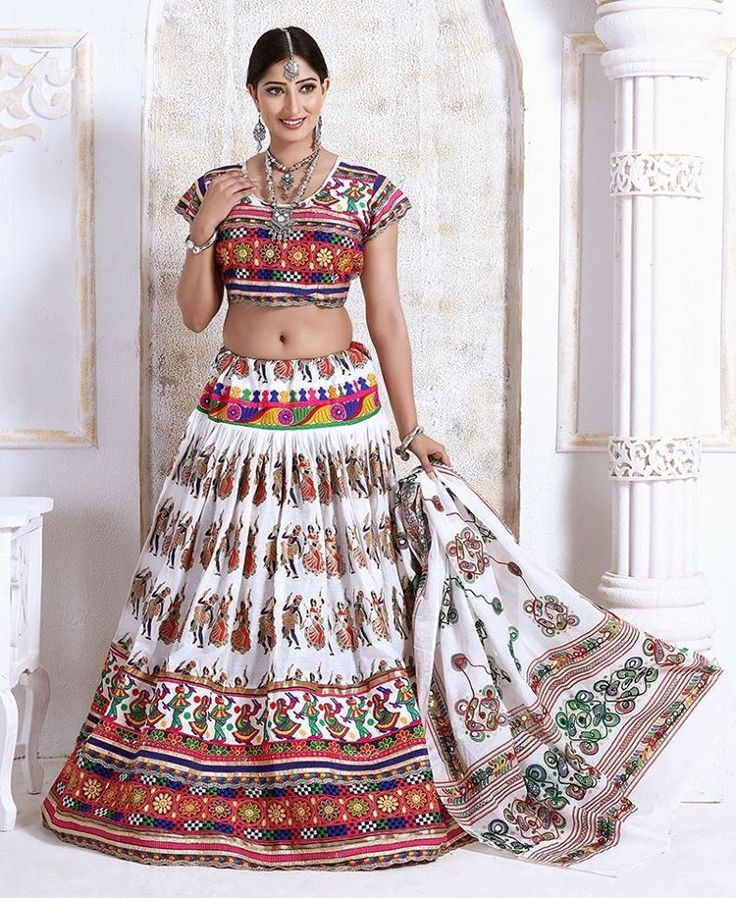 Navratri is just around the corner! Check out our collection of lehengas specially designed for Navratri! Buy Lehenga online - http://www.aishwaryadesignstudio.com/classic-white-lehenga-with-resham-work