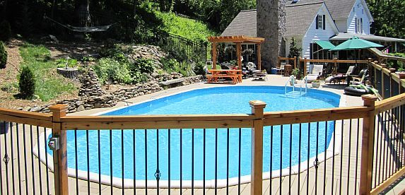 semi-inground poolSwimming Pools, Semiinground Pools, Pools Ideas S Som, Dorn Pools, Semi Inground Pools, Pools Ideassom, Pools Dealer
