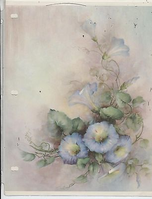 Blue Morning Glories 42 by Sonie Ames China Painting Study 1970 |