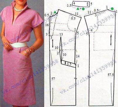 Платье приталенного спереди силуэта, с короткими цельнокроеными рукавами и отложным воротником - моделирование. #простыевыкройки #простыевещи #шитье #платье #выкройка