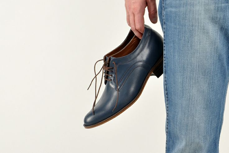 #Betelli height increasing #men's #shoes in navy blue colour. Made from genuine #leather. Style: Capri.