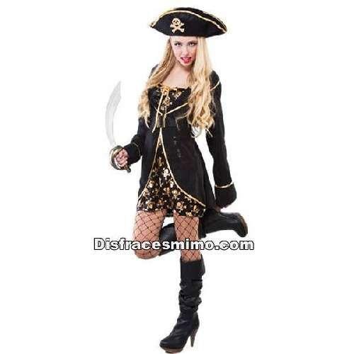 DisfracesMimo, disfraz pirata noche mujer adulto.Puedes disfrazarte colores dorados y negros, por tu cuenta o combinarte con tu pareja pirata para abordar con salvaje simpatía el Carnaval, Desfiles, Obras de Teatro y Fiestas Temáticas de Disfraces