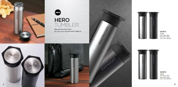 Lock & Lock Hero Tumbler tipe: LHC 4111 kapasitas 350ml size: 60 X 195mm Color: silver & Black. Lock and Lock Hero Tumbler tipe: LHC 4112 kapasitas 400ml size d: 60 x 215mm, color: silver & black. Water bottles stainless elegant design, suitable to serve as exclusive merchandise themed men's event, such as for sporting events, championships, competitions and other exhibition events.