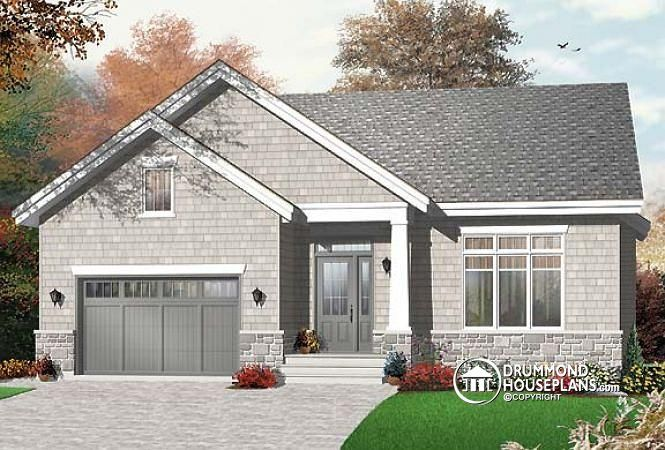 Plan no. 3278 - 3 bedroom, budget minded bungalow with home office and garage. See the floor plan here http://www.drummondhouseplans.com/house-plan-detail/info/1002953.html