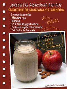 Cómo hacer un energizante smoothie de manzana y almendra rico en calcio, proteínas, carbohidratos, vitaminas, grasas saludables y fibra. Ideal para desayunar rápido. #smoothie #desayunos #infografias