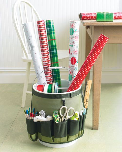 Wrapping Bucket - cool idea!: Holiday, Wrapping Papers, Buckets, Gift Wrapping, Wrapping Station, Martha Stewart, Craft Ideas
