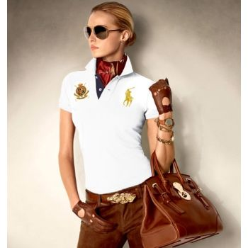 ralph lauren big pony polo shirt for women in white