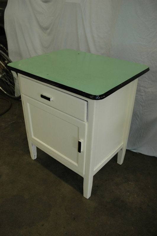 Vintage Enamel Top Kitchen Cabinet