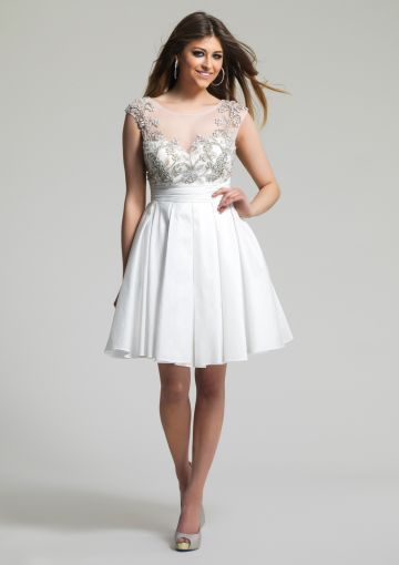 Cheap and Australia 2016 Ivory A-line Scoop Neckline Beaded Ruched Satin Skirt Mini Length Homecoming/ Evening Dress/ Prom Dresses 1430 from Dresses4Australia.com.au