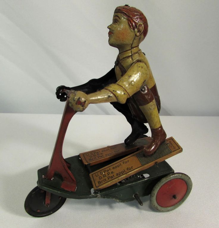 """Vintage German Fisher """"OH BOY"""" Tin Lithograph Wind-up Scooter #GermanFisher"""