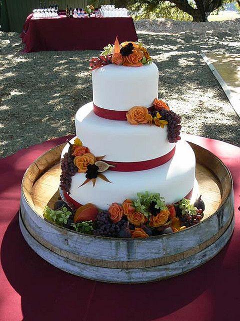 Fall Wedding Cake  - Wine Cask