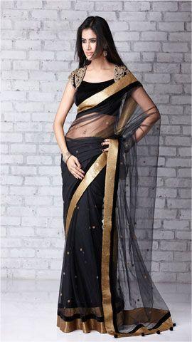 Black & Gold with creative blouse design - mcloveinstylemcloveinstyle