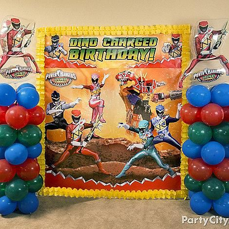 This epic Power Rangers Dino Charge scene setter will turn the party room into a play-battle room!