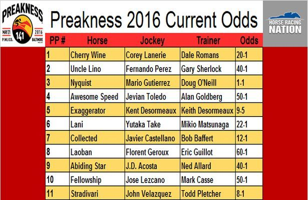Preakness 2016 Current Odds