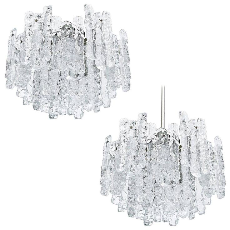 Pair of Kalmar Ice Glass Chandeliers or Flush Mount Light Fixtures, 1960s | From a unique collection of antique and modern chandeliers and pendants at https://www.1stdibs.com/furniture/lighting/chandeliers-pendant-lights/