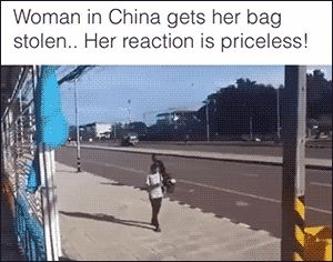 Why did the guy grab her bag and then run AWAY from his bike?