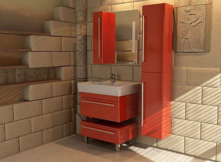 mobilier salle bain en rouge laqué, miroir rectangulaire, étagères murales en bois massif et parement mural en fausse pierre
