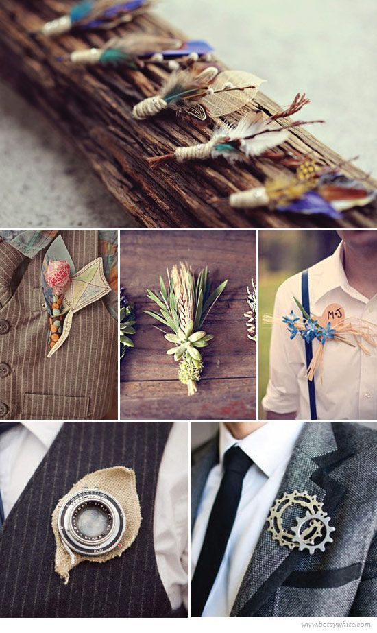 """DIY Boutonniere, love the """"gears"""" one, would be great to make different ones for groom and groomsmen to match each of their hobbies or things that they love to do"""