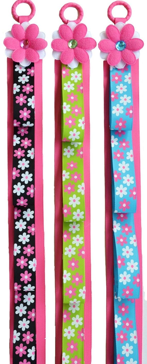 HEADBAND HOLDER Wall Hanging Display Funky Flowers Ribbon and FELT Flower                                                                                                                                                                                 More