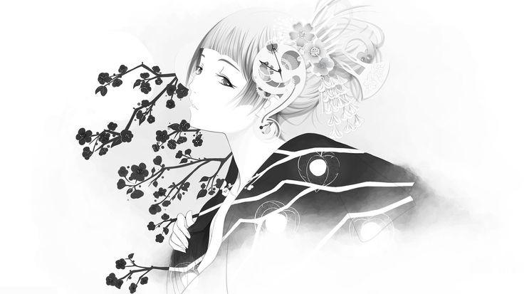 Taustakuvat tyttö, Sakura, kimono, minimalismi, Valokuva