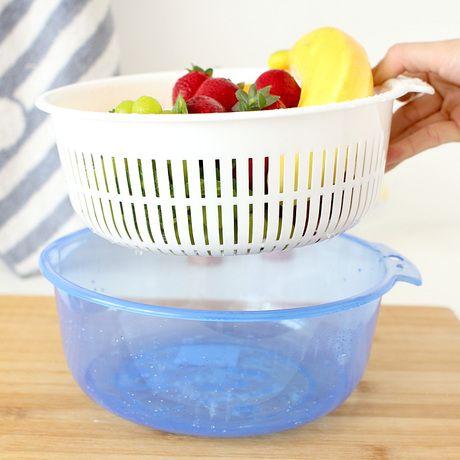 Ленивый угол творческой синий пластиковый корзина с фруктами чаша двойная дренажные корзины овощи богаты крышка пыли 60334 - Taobao
