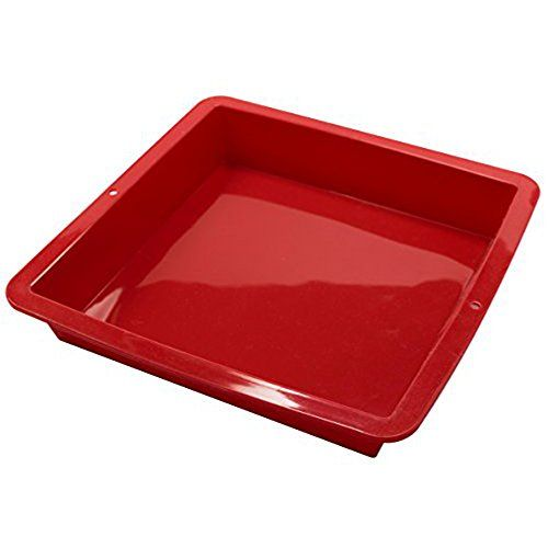 Housewares Premium Silicone Square Cake Pan (Red)