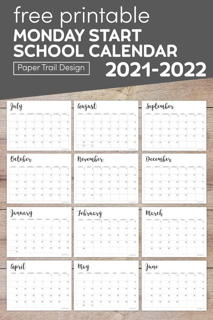 Und Academic Calendar 2022.2021 2022 Printable School Calendar Paper Trail Design In 2021 School Calendar Back To School Pictures Preschool Lesson Plans