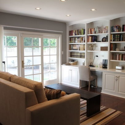 Built Ins In Open Shelving And Desk