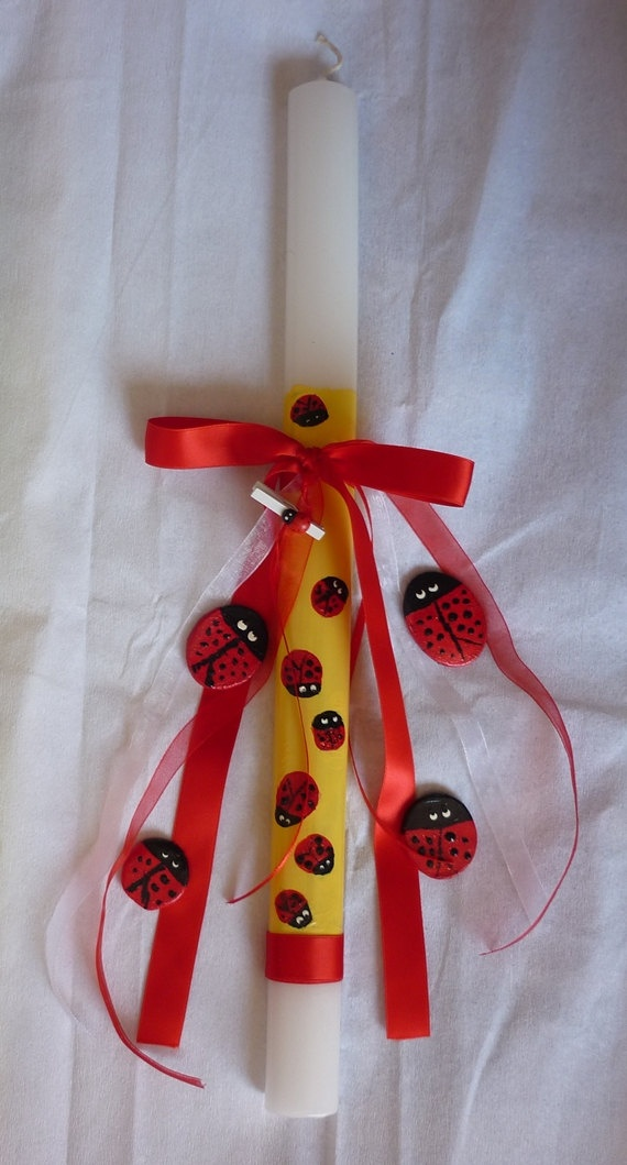 Lady bug Easter candle Handpainted easter candle by despinART, €24.00