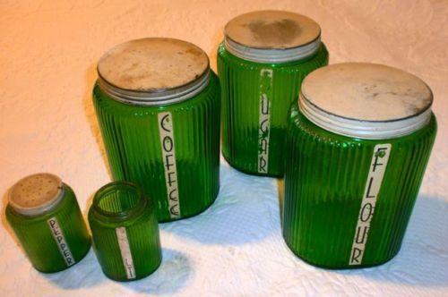RARE-OWENS-ILLINOIS-OVOID-GREEN-DEPRESSION-HOOSIER-JARS-CANISTERS-Set-of-5