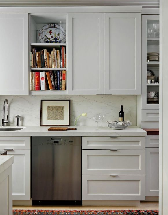 Best and Company NYC: Lovely galley kitchen in pre-war building with floor to ceiling white shaker kitchen ...