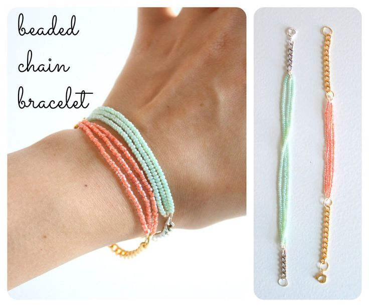 DIY Beaded chain bracelet, a super-easy little project #handmade #jewelry #beading