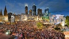 "In the tradition of the world's busiest public spaces, ""Fed Square"" buzzes with a daily program of events, restaurants and cafes and bold galleries."
