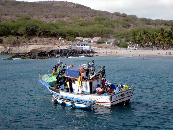 A local fishing boat prepares to unload its catch at Tarrafal at the north end of Santiago Island, Cape Verde.