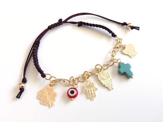 Lucky Charm Bracelet Evil eye Bracelet friendship clover bracelet Gold hamsa bracelet red evil eye Judaical Bracelet Jewish Gift mal de ojo