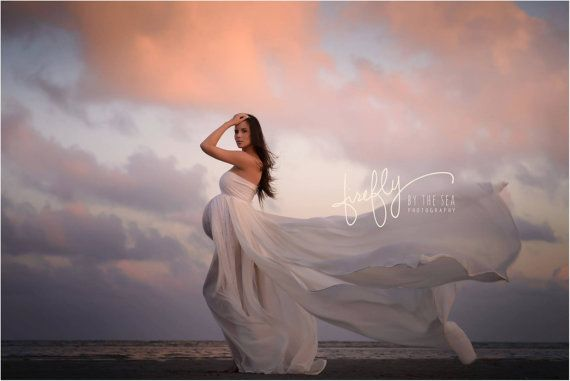 Ivory Flowing Chiffon Maternity Gown / Dress with by SilkFairies