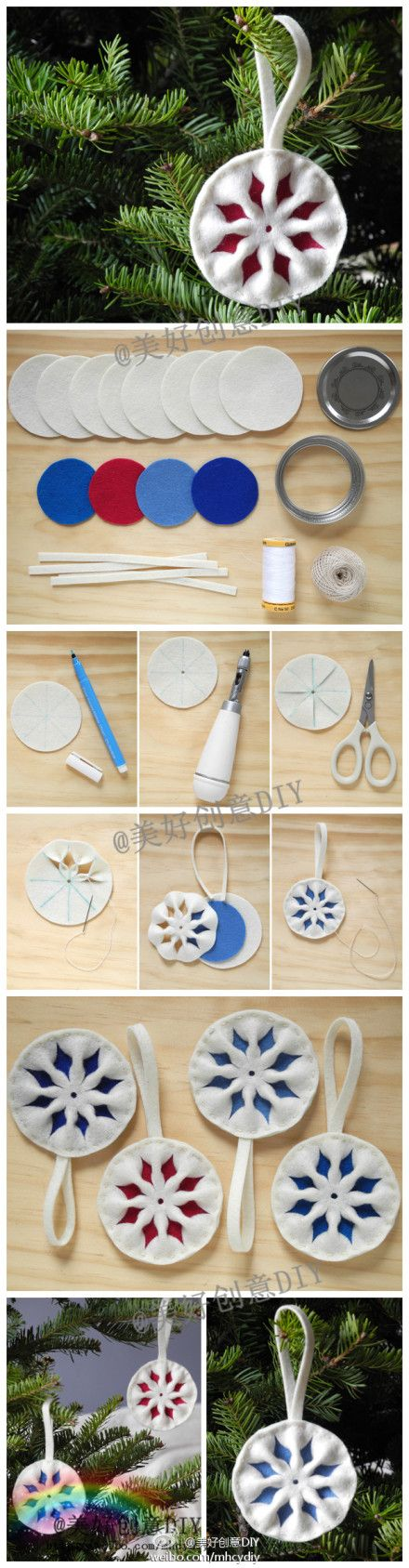 Felt Christmas ornament craft with kids. small little snowflake.