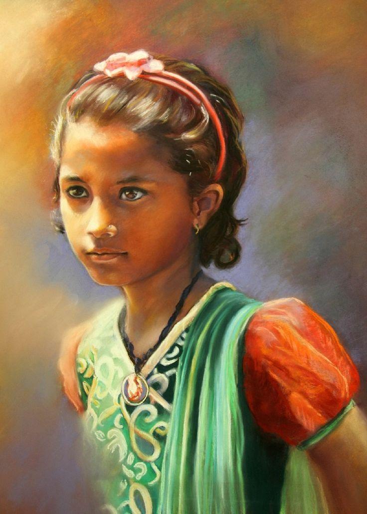 Petite fée de Lalitpur - Pastel de Monique Genain
