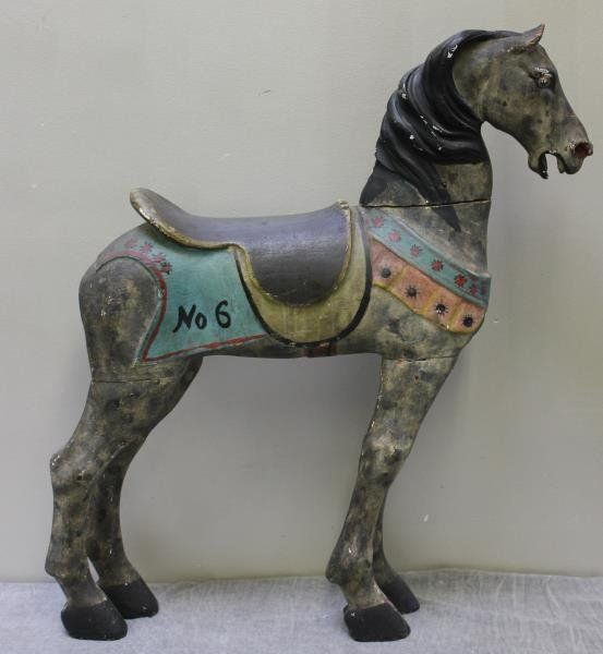 Antique Painted Wood Carousel Horse.