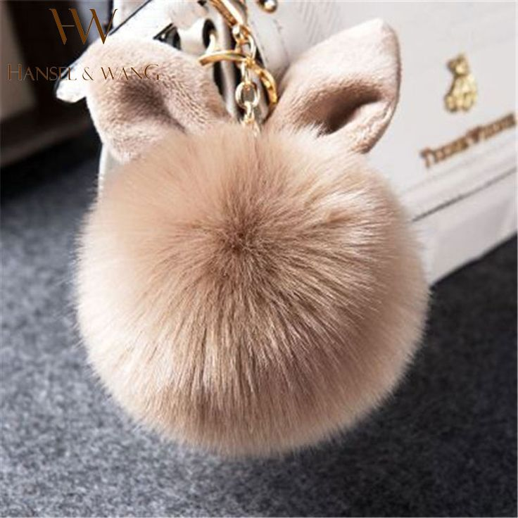 New Fur Pom Pom Keychain Fluffy Bunny Rabbit Fur Keychain for Women Bag Charm Rabbit Ears Key Chain Car Key Ring Keychains QC06