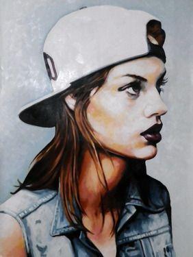 "Saatchi Online Artist thomas saliot; Painting, ""White cap babe"" #art"