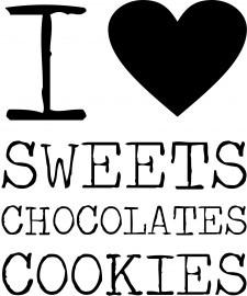 I  Sweets, Chocolates, Cookies.   Leuk om op een voorraadblik, koektrommel of op een dienblad te plakken.  @ilse-stickerdesign.nl