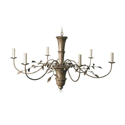 Porta Romana - MCL01, Olive Leaf Chandelier - Very Decayed Silver
