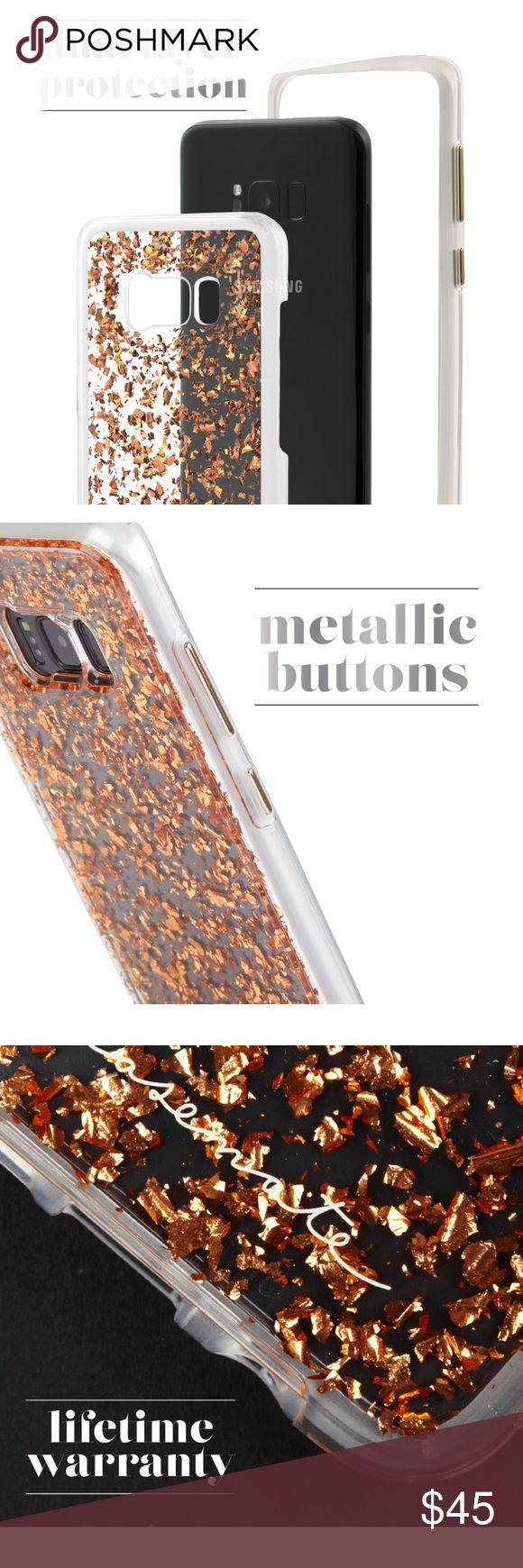 "Samsung Galaxy S8 Rose Gold Karat Case•Mate New How many karats does it take to make an ""it girl""? Answer, just this one! Inspired by the chic lucite handbags of the 1950s and 1960s, this Samsung Galaxy S8 case will step up your shine game with metallic rose gold elements encased in clear resin. Military strength impact protection* Dual layer protection w/ slim silhouette Shock absorbing bumper Anti-scratch technology Refined metallic buttons *case is certified to meet/exceed  MIL-STD-810G…"