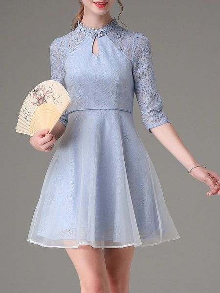 Shop Mini Dresses - Paneled 3/4 Sleeve Lace Vintage Mini Dress online. Discover…